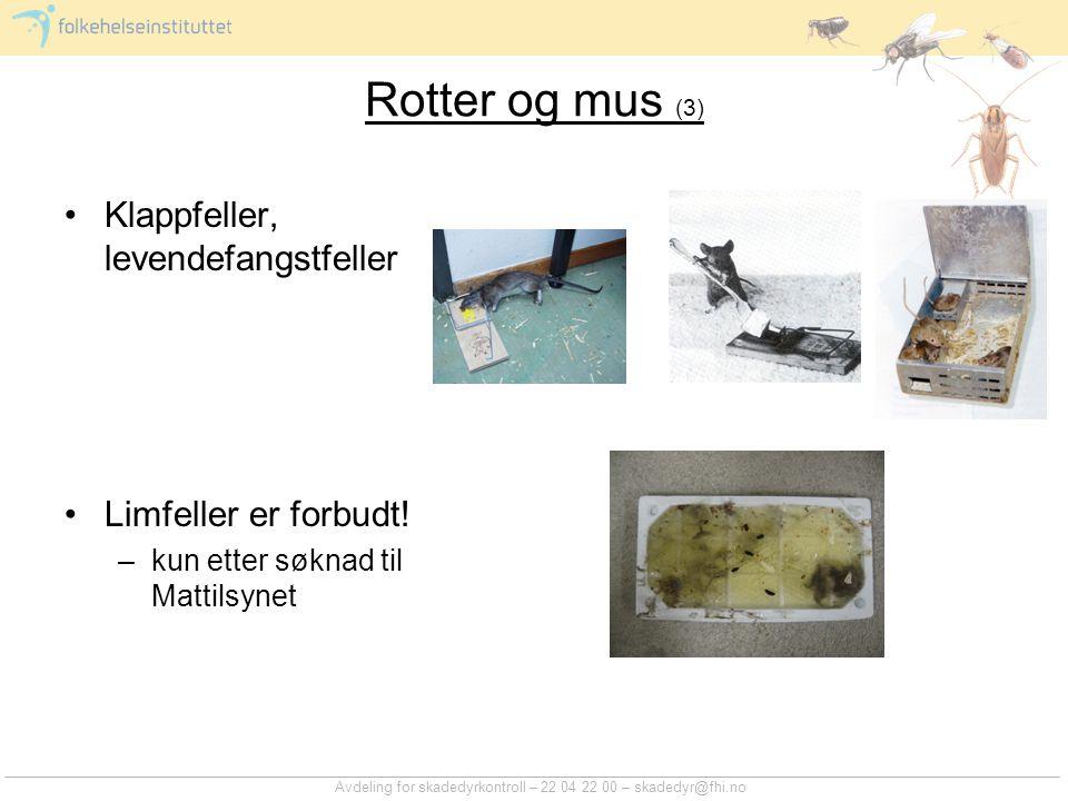Avdeling for skadedyrkontroll – 22 04 22 00 – skadedyr@fhi.no Rotter og mus (3) Klappfeller, levendefangstfeller Limfeller er forbudt! –kun etter søkn