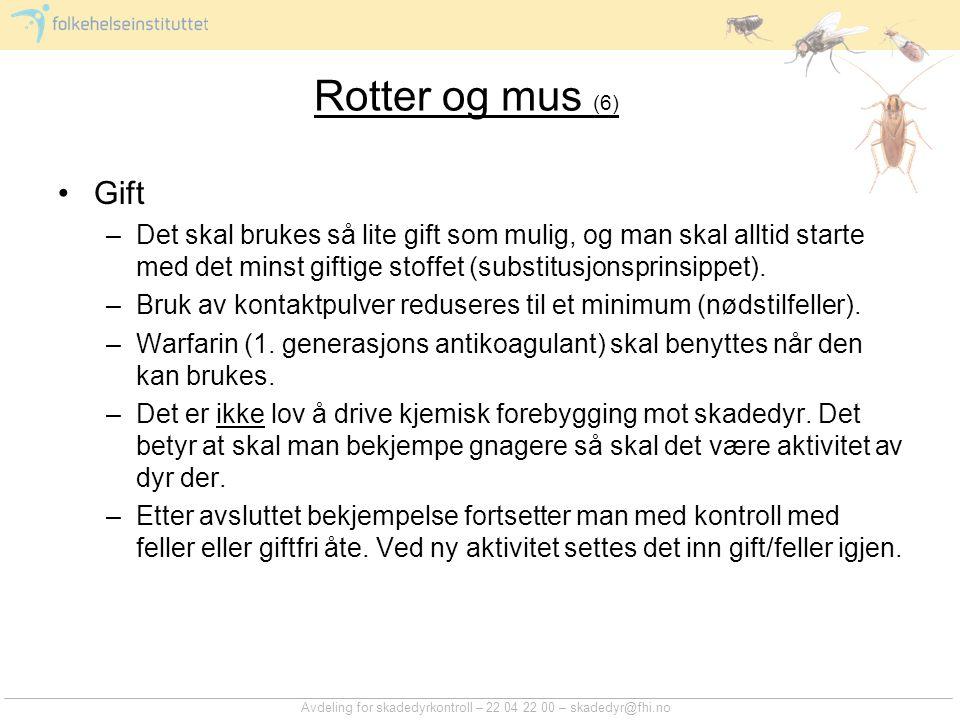 Avdeling for skadedyrkontroll – 22 04 22 00 – skadedyr@fhi.no Rotter og mus (6) Gift –Det skal brukes så lite gift som mulig, og man skal alltid start