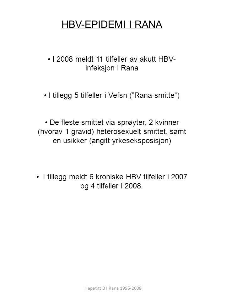 Hepatitt B I Rana 1996-2008 HBV-EPIDEMI I RANA I 2008 meldt 11 tilfeller av akutt HBV- infeksjon i Rana I tillegg 5 tilfeller i Vefsn ( Rana-smitte ) De fleste smittet via sprøyter, 2 kvinner (hvorav 1 gravid) heterosexuelt smittet, samt en usikker (angitt yrkeseksposisjon) I tillegg meldt 6 kroniske HBV tilfeller i 2007 og 4 tilfeller i 2008.