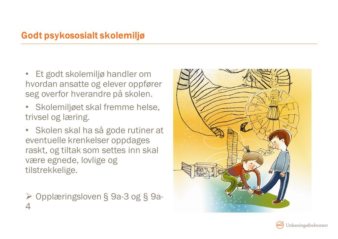 Godt psykososialt skolemiljø Et godt skolemiljø handler om hvordan ansatte og elever oppfører seg overfor hverandre på skolen. Skolemiljøet skal fremm