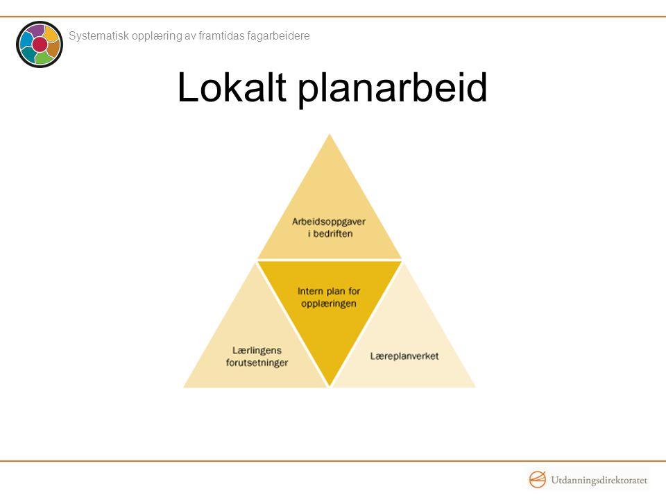 Lokalt planarbeid Systematisk opplæring av framtidas fagarbeidere