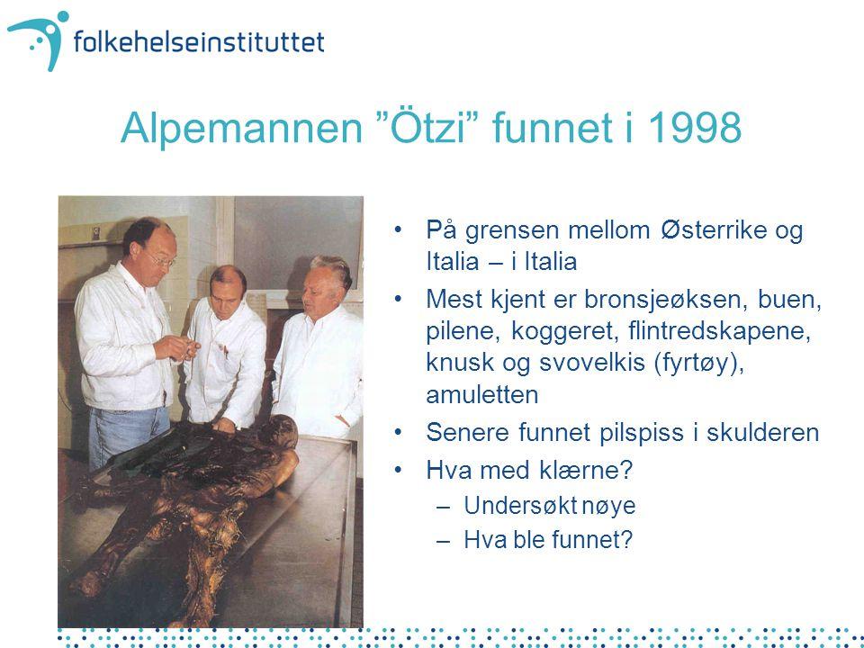 """Alpemannen """"Ötzi"""" funnet i 1998 På grensen mellom Østerrike og Italia – i Italia Mest kjent er bronsjeøksen, buen, pilene, koggeret, flintredskapene,"""
