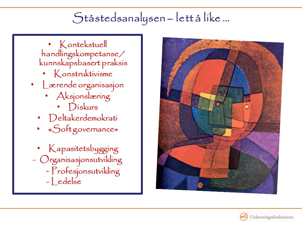 Ståstedsanalysen – lett å like … Kontekstuell handlingskompetanse / kunnskapsbasert praksis Konstruktivisme Lærende organisasjon Aksjonslæring Diskurs