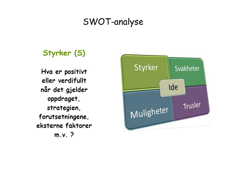Styrker (S) Hva er positivt eller verdifullt når det gjelder oppdraget, strategien, forutsetningene, eksterne faktorer m.v. ?