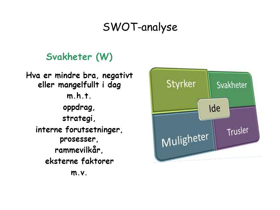 SWOT-analyse Svakheter (W) Hva er mindre bra, negativt eller mangelfullt i dag m.h.t. oppdrag, strategi, interne forutsetninger, prosesser, rammevilkå