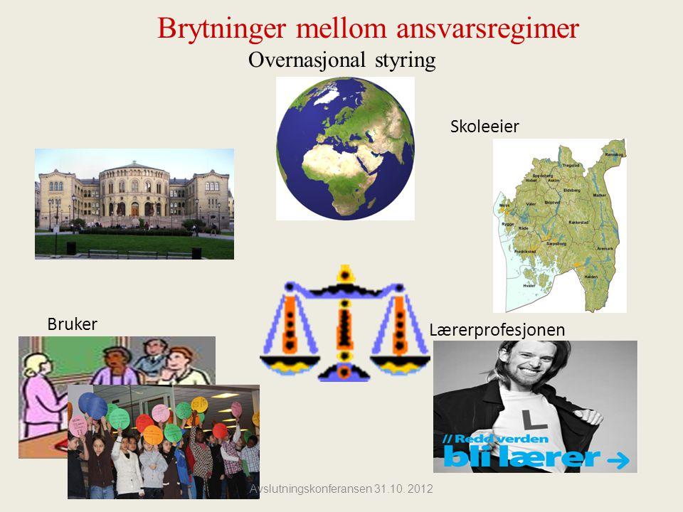 Brytninger mellom ansvarsregimer Overnasjonal styring Skoleeier Bruker Lærerprofesjonen Avslutningskonferansen 31.10.