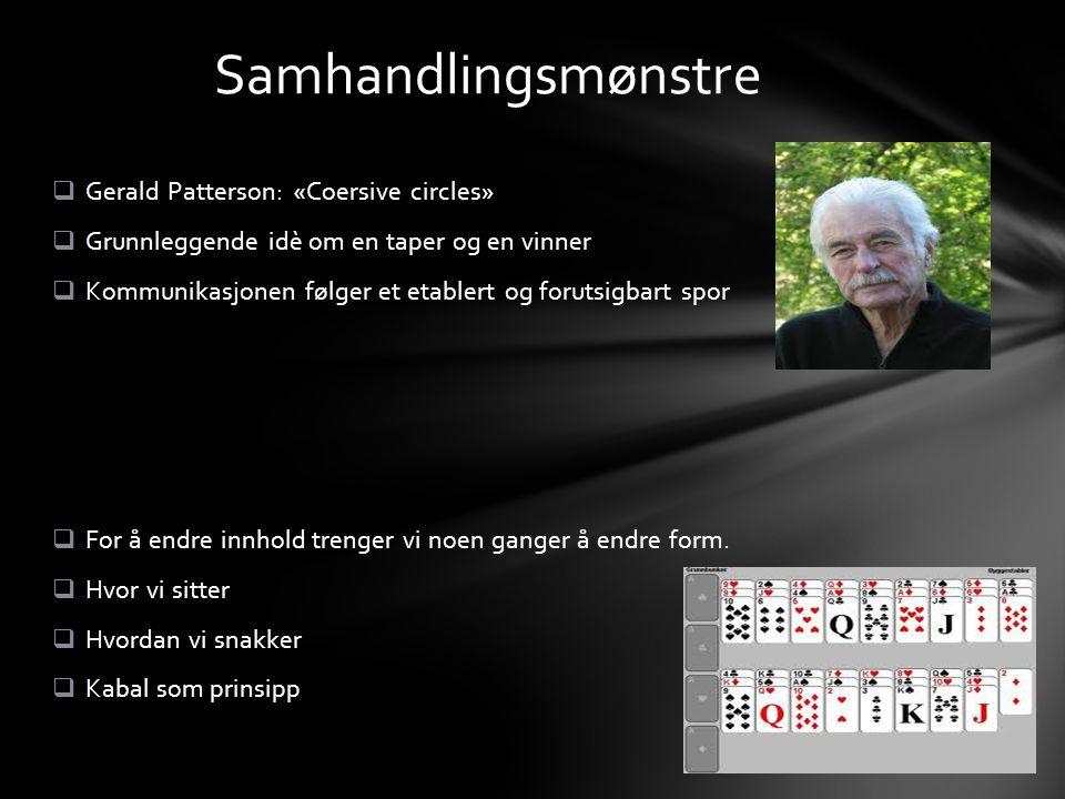  Gerald Patterson: «Coersive circles»  Grunnleggende idè om en taper og en vinner  Kommunikasjonen følger et etablert og forutsigbart spor  For å