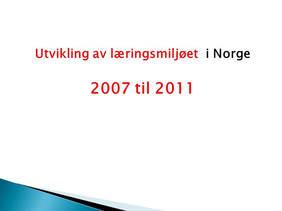 Utvikling av læringsmiljøet i Norge 2007 til 2011