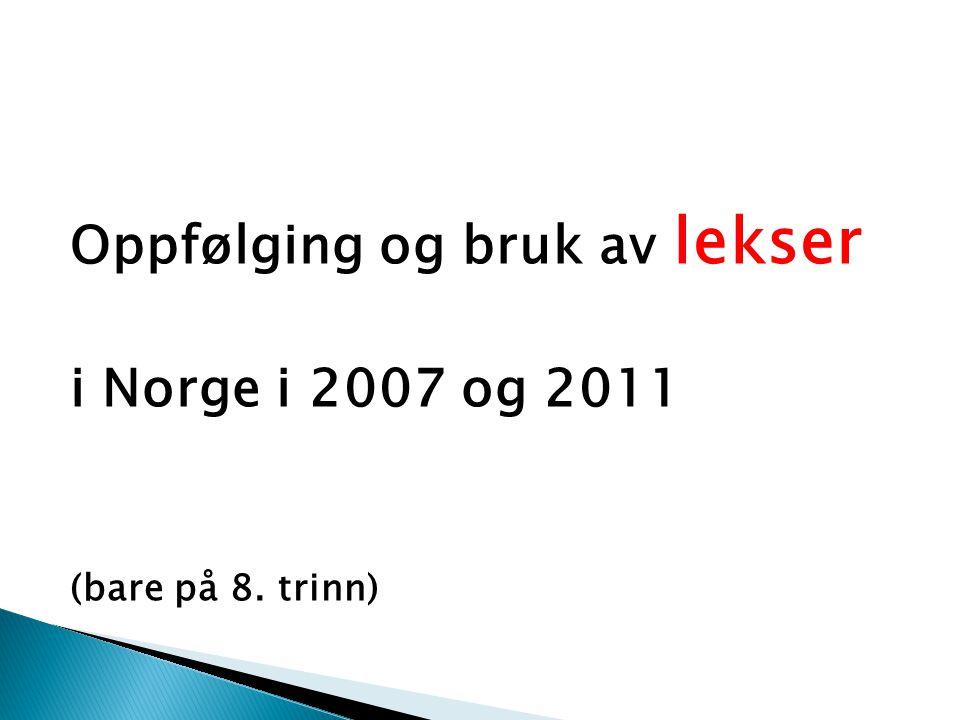 Oppfølging og bruk av lekser i Norge i 2007 og 2011 (bare på 8. trinn)
