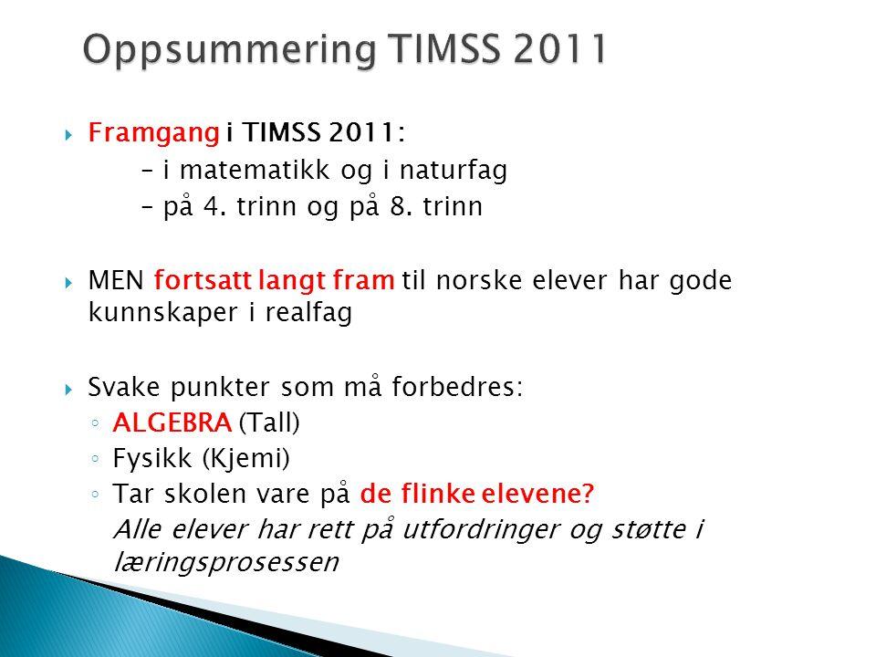  Framgang i TIMSS 2011: – i matematikk og i naturfag – på 4.