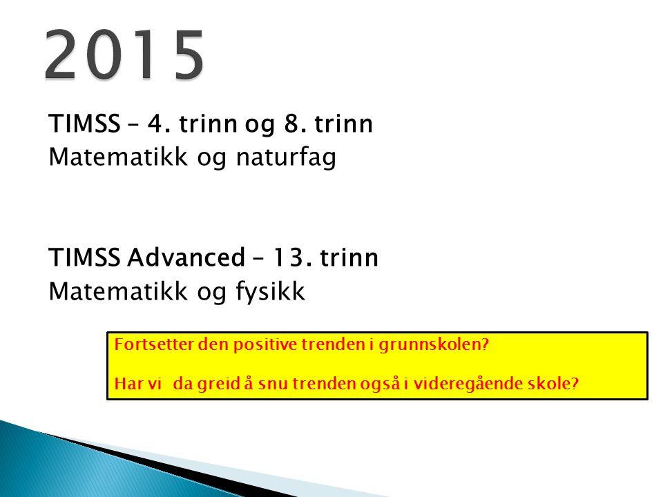 TIMSS – 4. trinn og 8. trinn Matematikk og naturfag TIMSS Advanced – 13. trinn Matematikk og fysikk Fortsetter den positive trenden i grunnskolen? Har