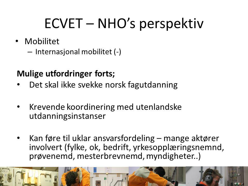 ECVET – NHO's perspektiv Mobilitet – Internasjonal mobilitet (-) Mulige utfordringer forts; Det skal ikke svekke norsk fagutdanning Krevende koordiner