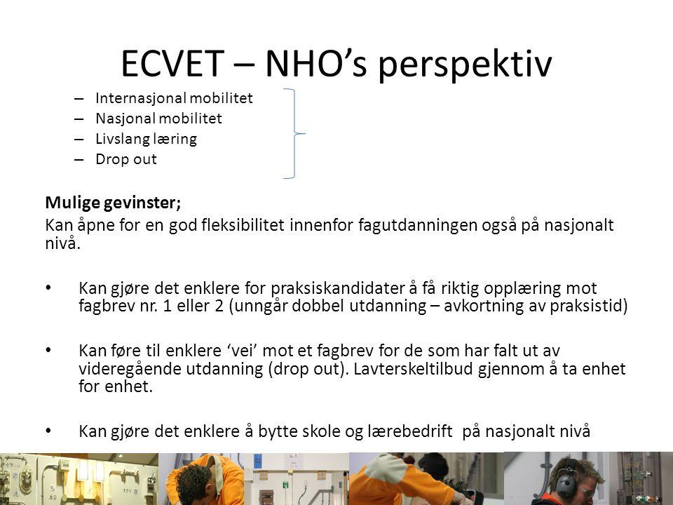 ECVET – NHO's perspektiv – Internasjonal mobilitet – Nasjonal mobilitet – Livslang læring – Drop out Mulige gevinster; Kan åpne for en god fleksibilit