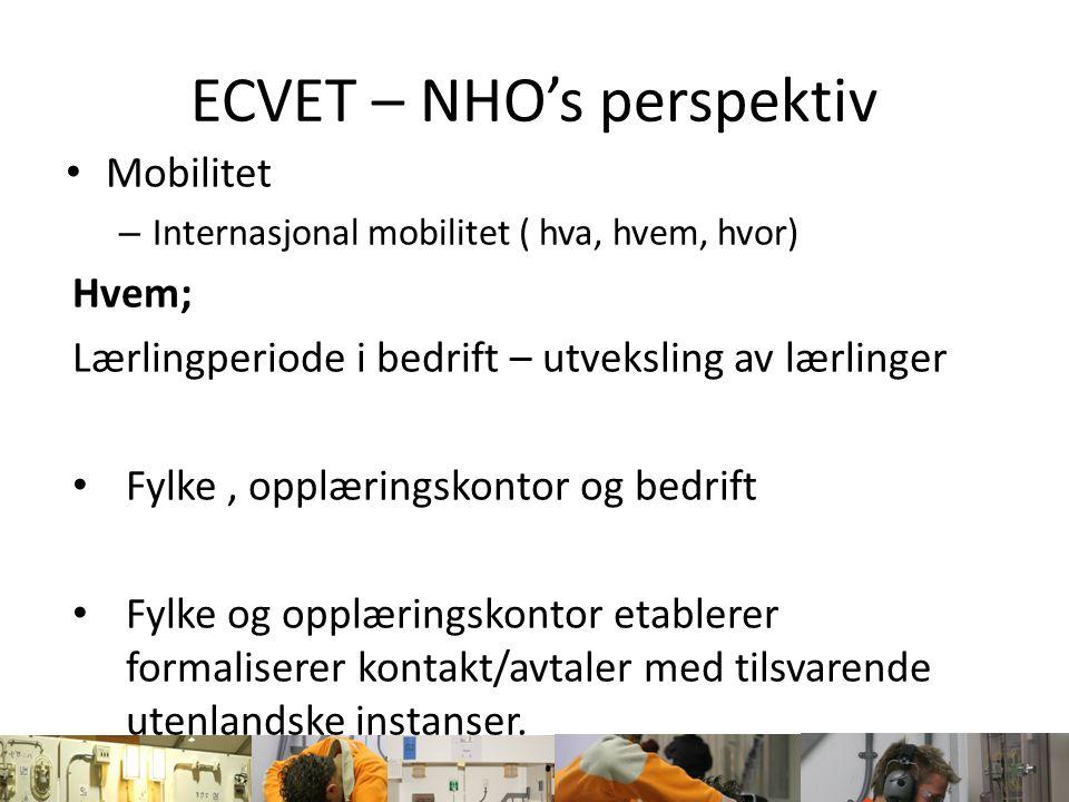 ECVET – NHO's perspektiv Mobilitet – Internasjonal mobilitet ( hva, hvem, hvor) Hvem; Lærlingperiode i bedrift – utveksling av lærlinger Fylke, opplær
