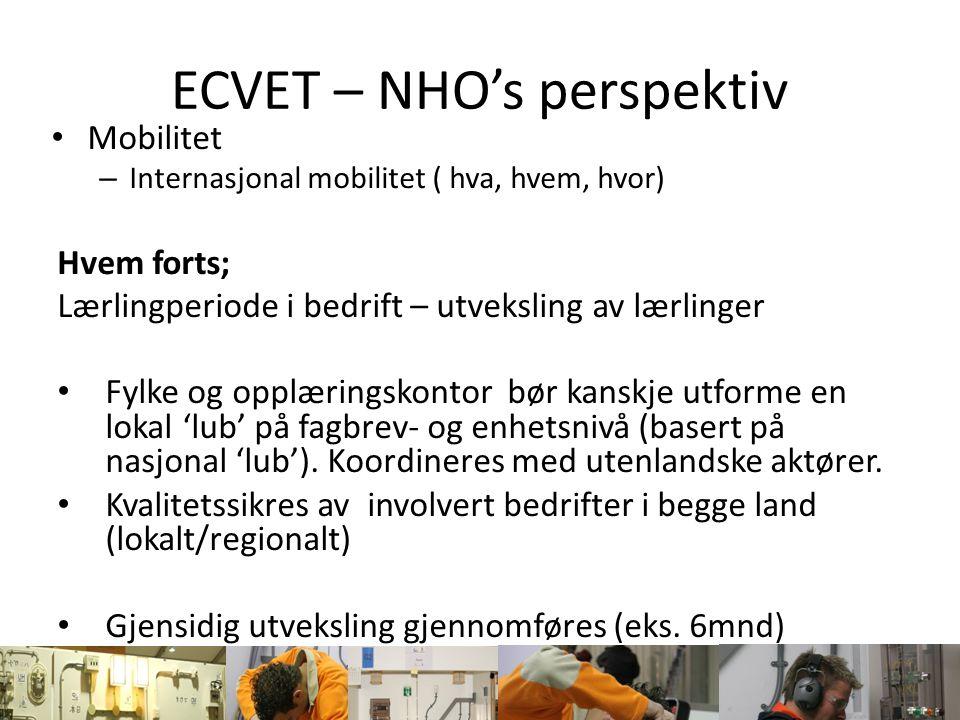 ECVET – NHO's perspektiv Mobilitet – Internasjonal mobilitet ( hva, hvem, hvor) Hvor; Lærlingperiode i bedrift – utveksling av lærlinger I prinsippet alle land i Europa.