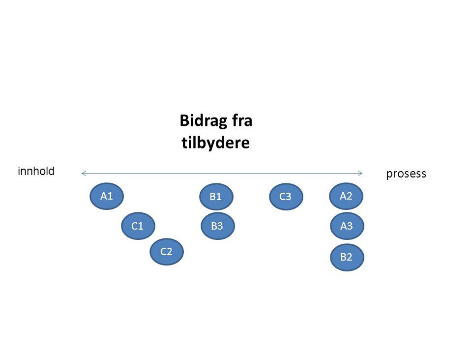 innhold Bidrag fra tilbydere prosess C3 C2 C1B3 B2 B1 A3 A2 A1