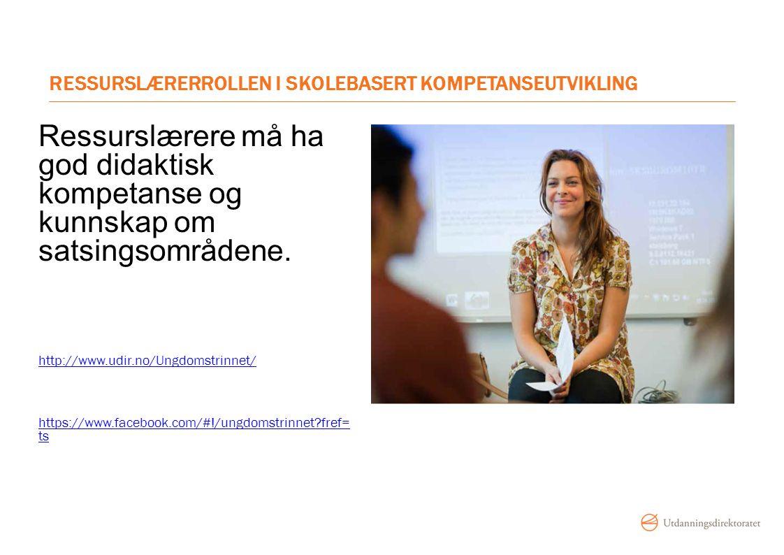 RESSURSLÆRERROLLEN I SKOLEBASERT KOMPETANSEUTVIKLING Ressurslærere må ha god didaktisk kompetanse og kunnskap om satsingsområdene. http://www.udir.no/