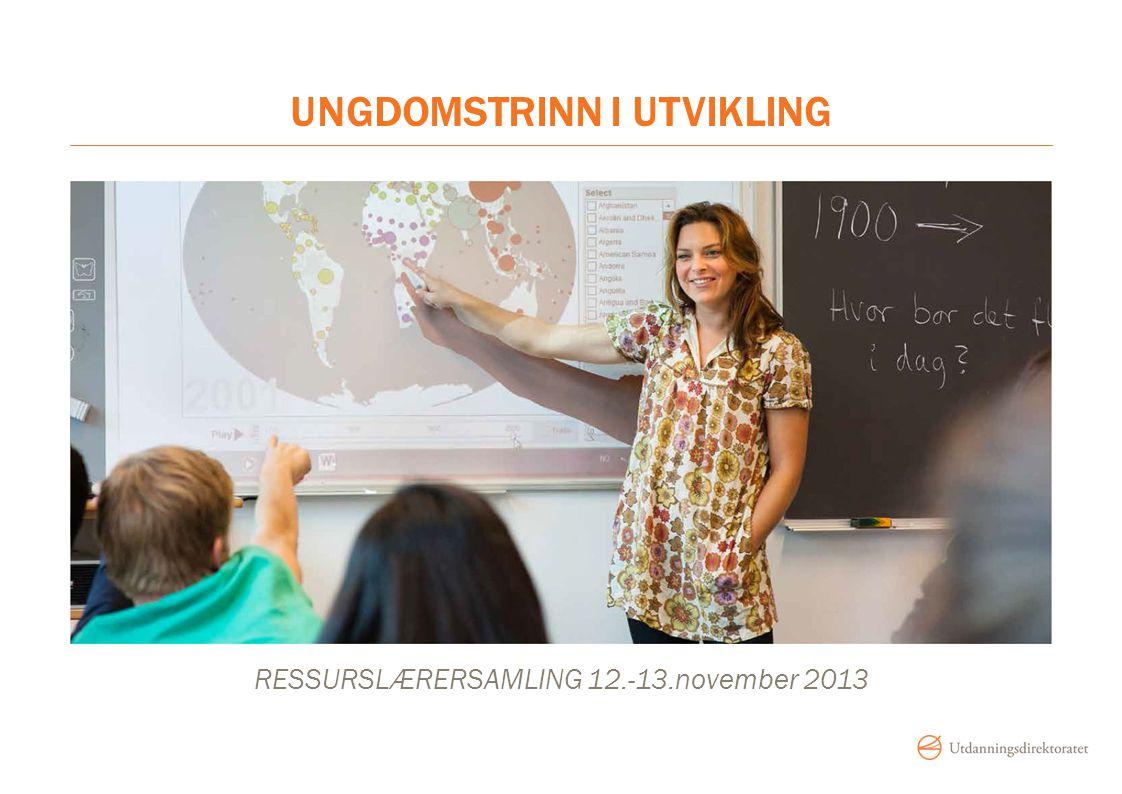 UNGDOMSTRINN I UTVIKLING RESSURSLÆRERSAMLING 12.-13.november 2013