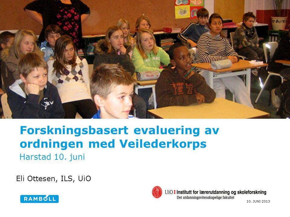 10. JUNI 2013 Forskningsbasert evaluering av ordningen med Veilederkorps Harstad 10. juni Eli Ottesen, ILS, UiO
