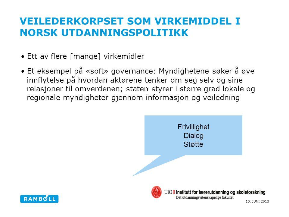 10. JUNI 2013 VEILEDERKORPSET SOM VIRKEMIDDEL I NORSK UTDANNINGSPOLITIKK Ett av flere [mange] virkemidler Et eksempel på «soft» governance: Myndighete