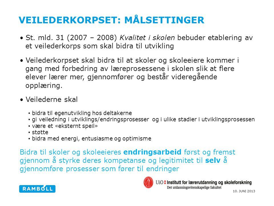 10. JUNI 2013 VEILEDERKORPSET: MÅLSETTINGER St. mld. 31 (2007 – 2008) Kvalitet i skolen bebuder etablering av et veilederkorps som skal bidra til utvi