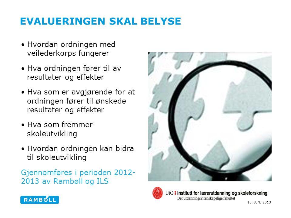 10. JUNI 2013 EVALUERINGEN SKAL BELYSE Hvordan ordningen med veilederkorps fungerer Hva ordningen fører til av resultater og effekter Hva som er avgjø