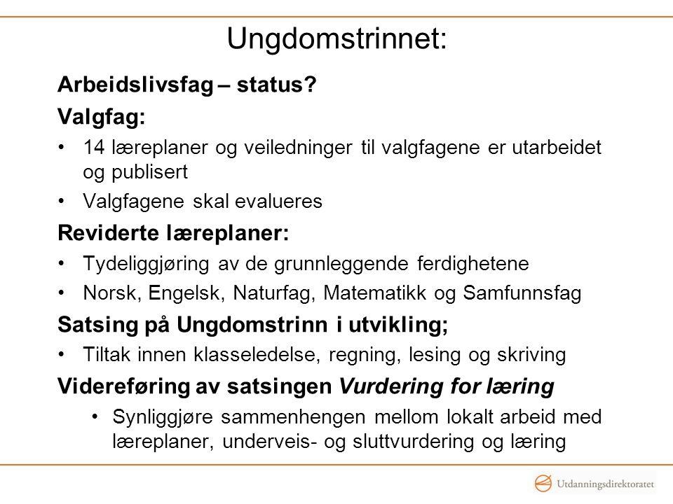 Ungdomstrinnet: Arbeidslivsfag – status.