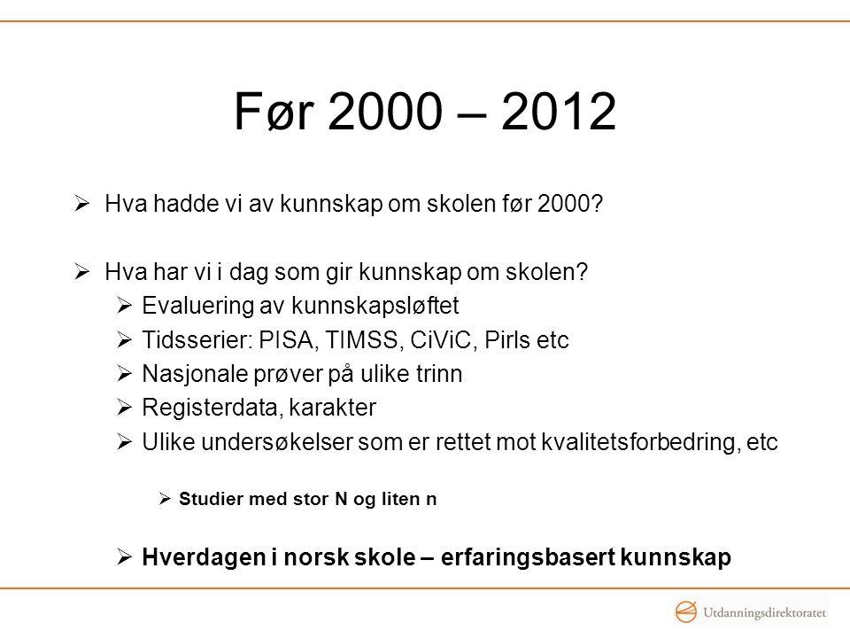Før 2000 – 2012  Hva hadde vi av kunnskap om skolen før 2000.
