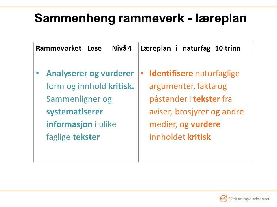 Sammenheng rammeverk - læreplan Rammeverket Lese Nivå 4Læreplan i naturfag 10.trinn Analyserer og vurderer form og innhold kritisk.