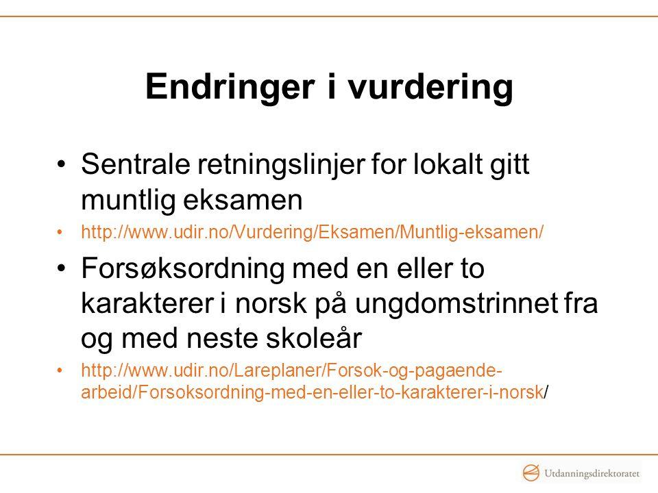 Endringer i vurdering Sentrale retningslinjer for lokalt gitt muntlig eksamen http://www.udir.no/Vurdering/Eksamen/Muntlig-eksamen/ Forsøksordning med en eller to karakterer i norsk på ungdomstrinnet fra og med neste skoleår http://www.udir.no/Lareplaner/Forsok-og-pagaende- arbeid/Forsoksordning-med-en-eller-to-karakterer-i-norsk/