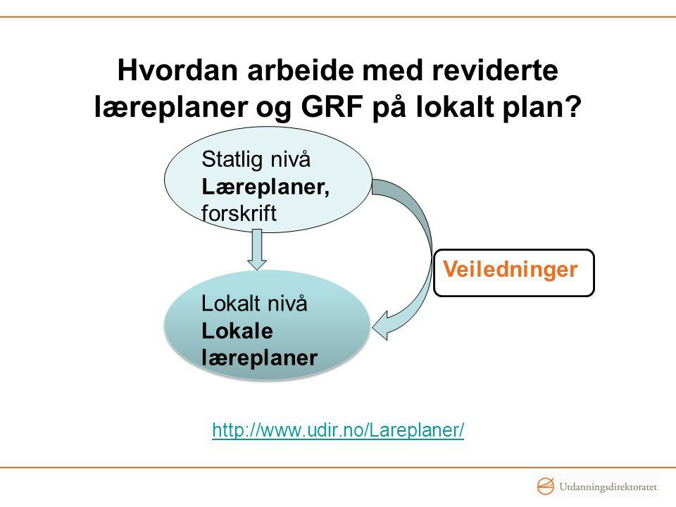 Hvordan arbeide med reviderte læreplaner og GRF på lokalt plan.