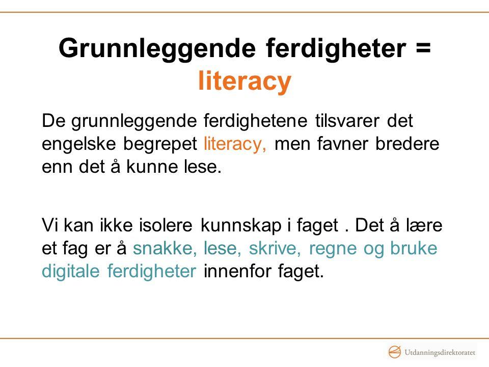 Grunnleggende ferdigheter = literacy De grunnleggende ferdighetene tilsvarer det engelske begrepet literacy, men favner bredere enn det å kunne lese.