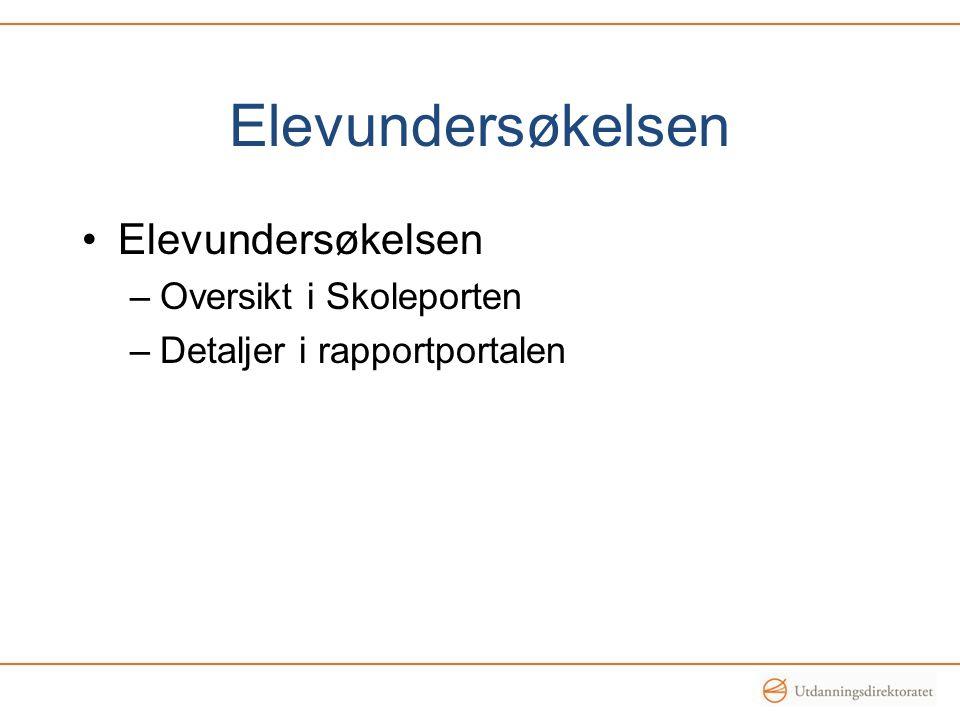 Elevundersøkelsen –Oversikt i Skoleporten –Detaljer i rapportportalen
