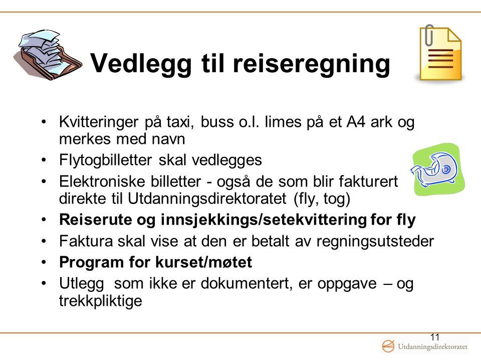 Vedlegg til reiseregning Kvitteringer på taxi, buss o.l. limes på et A4 ark og merkes med navn Flytogbilletter skal vedlegges Elektroniske billetter -