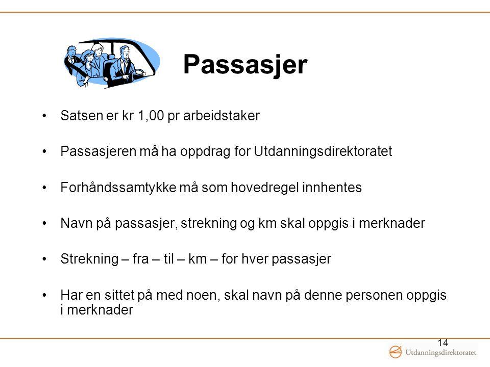 Passasjer Satsen er kr 1,00 pr arbeidstaker Passasjeren må ha oppdrag for Utdanningsdirektoratet Forhåndssamtykke må som hovedregel innhentes Navn på