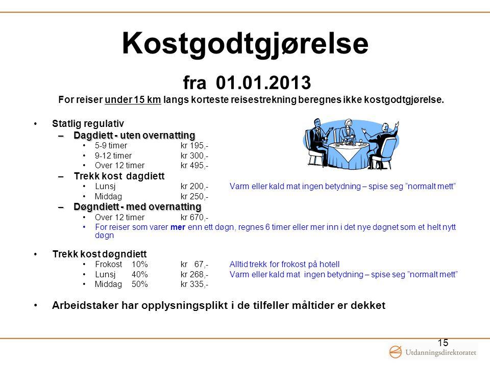 Kostgodtgjørelse fra 01.01.2013 15 For reiser under 15 km langs korteste reisestrekning beregnes ikke kostgodtgjørelse. Statlig regulativ –Dagdiett -