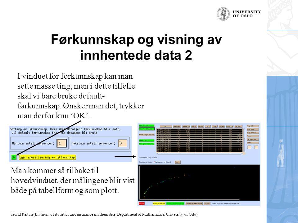 Trond Reitan (Division of statistics and insurance mathematics, Department of Mathematics, University of Oslo) Mer om visning av innhentede data Sorteringen i tabellen gjenspeiler seg i fargevalget i plottet.