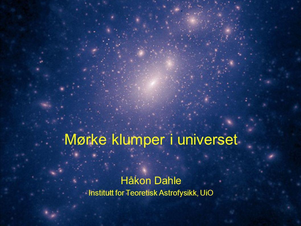 Mørk materie i 1E0657-56 Clowe et al., astro-ph/0608407 (måling av svak gravitasjonslinsing med data fra HST, 6.5m Magellan + måling av røntgengass fra Chandra-satellitten) For standard gravitasjon, gir dette massekartet et direkte bilde av den lokale massetettheten For alternative gravitasjonsmodeller er verdiene i massekartet ikke direkte proporsjonale med massen ( glattet bilde ) Posisjonen til massekonsentrasjonene burde likevel være den samme.