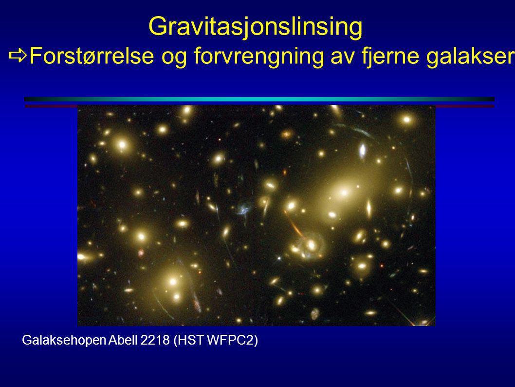 Gravitasjonslinsing  Forstørrelse og forvrengning av fjerne galakser Galaksehopen Abell 2218 (HST WFPC2)