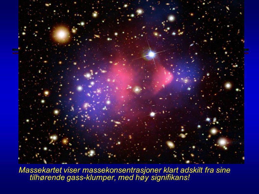 Mørk materie i 1E0657-56 Clowe et al., astro-ph/0608407 (måling av svak gravitasjonslinsing med data fra HST, 6.5m Magellan + måling av røntgengass fr