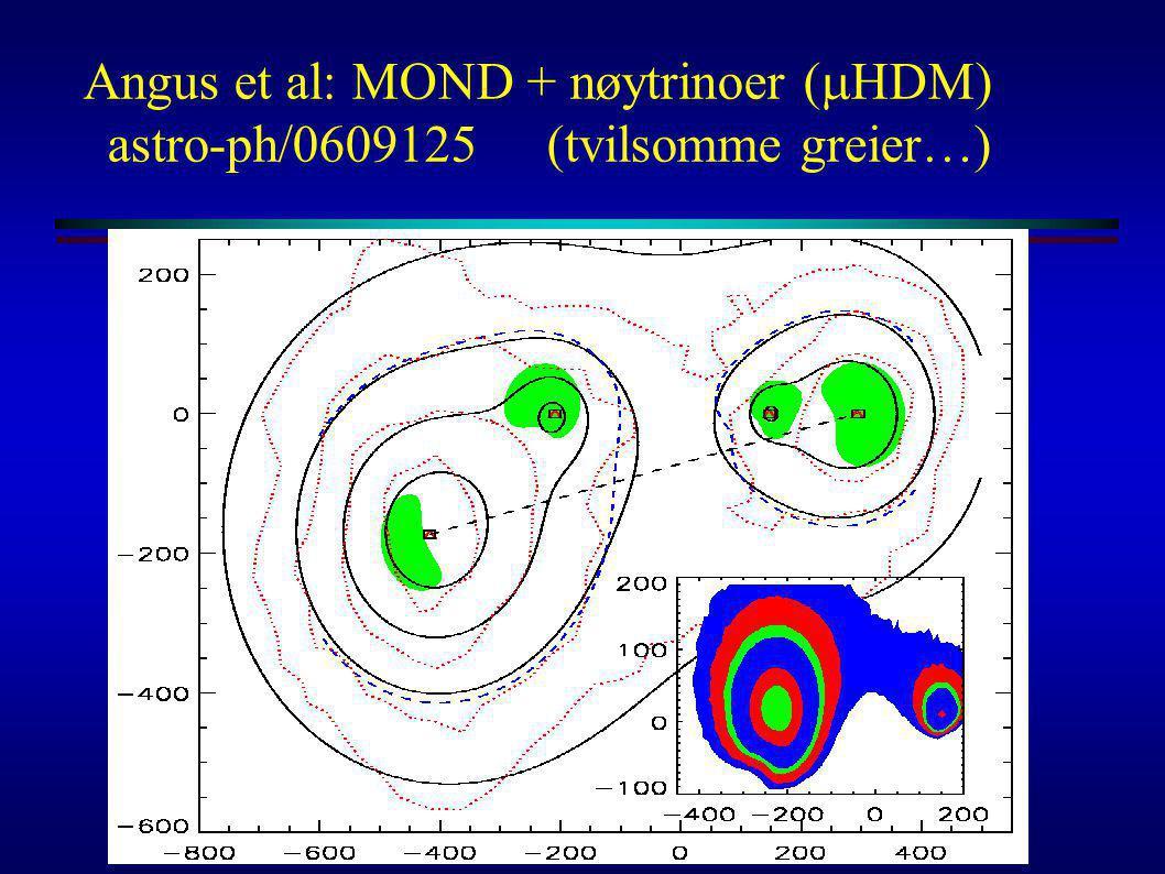 Angus et al: MOND + nøytrinoer (  HDM) astro-ph/0609125 (tvilsomme greier…)