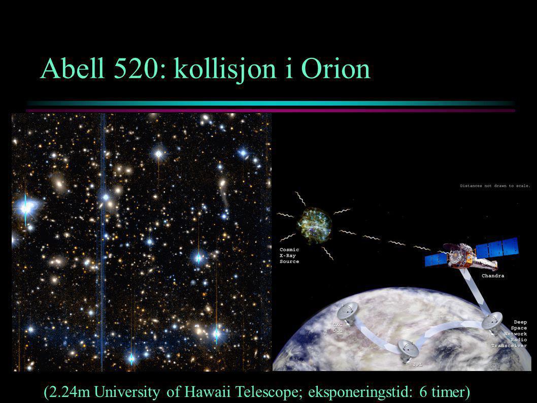 Abell 520: kollisjon i Orion (2.24m University of Hawaii Telescope; eksponeringstid: 6 timer)