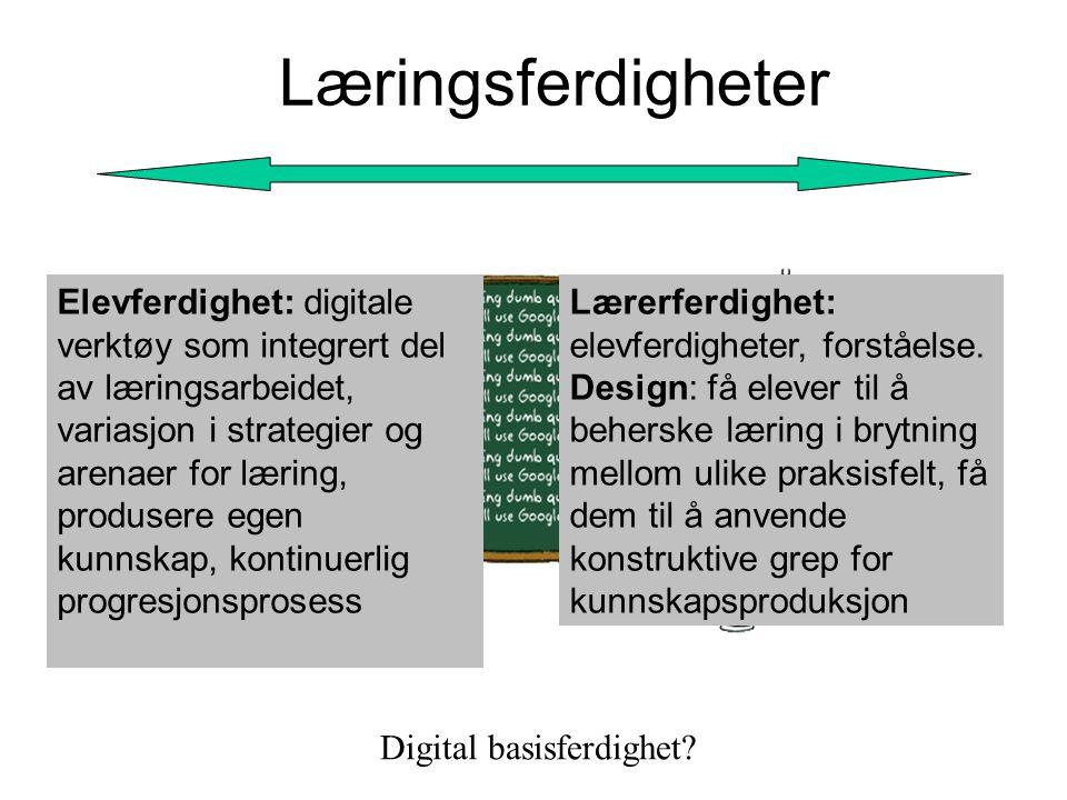 Læringsferdigheter Elevferdighet: digitale verktøy som integrert del av læringsarbeidet, variasjon i strategier og arenaer for læring, produsere egen kunnskap, kontinuerlig progresjonsprosess Lærerferdighet: elevferdigheter, forståelse.