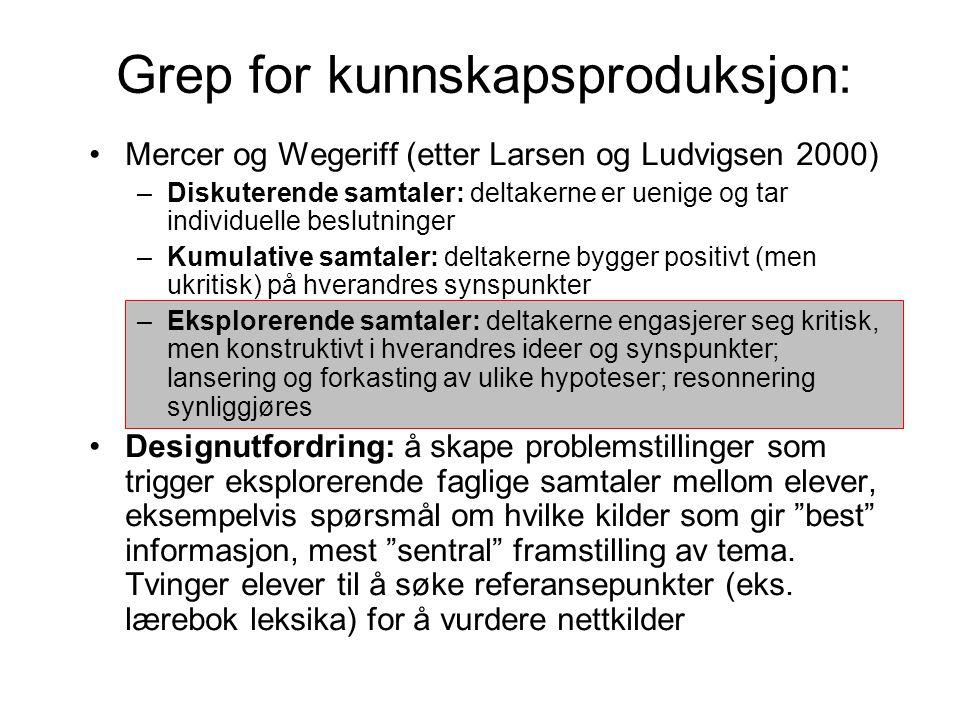 Grep for kunnskapsproduksjon: Mercer og Wegeriff (etter Larsen og Ludvigsen 2000) –Diskuterende samtaler: deltakerne er uenige og tar individuelle bes