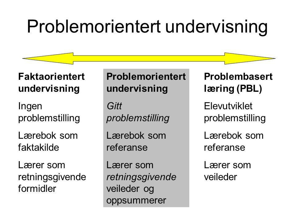 Problemorientert undervisning Faktaorientert undervisning Ingen problemstilling Lærebok som faktakilde Lærer som retningsgivende formidler Problemorie