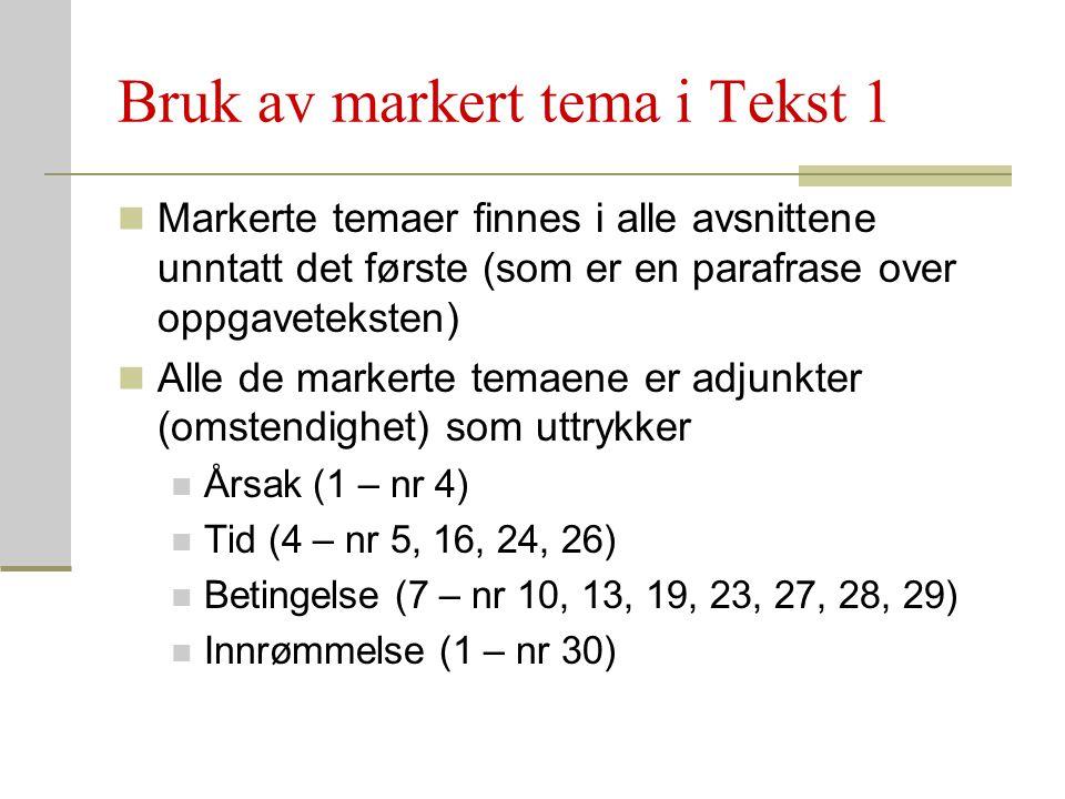 Bruk av markert tema i Tekst 1 Markerte temaer finnes i alle avsnittene unntatt det første (som er en parafrase over oppgaveteksten) Alle de markerte