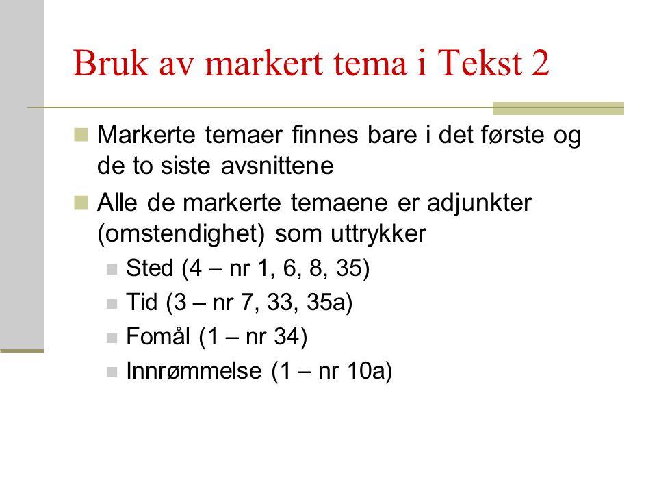 Bruk av markert tema i Tekst 2 Markerte temaer finnes bare i det første og de to siste avsnittene Alle de markerte temaene er adjunkter (omstendighet)