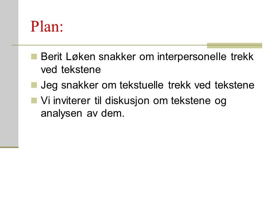 Plan: Berit Løken snakker om interpersonelle trekk ved tekstene Jeg snakker om tekstuelle trekk ved tekstene Vi inviterer til diskusjon om tekstene og