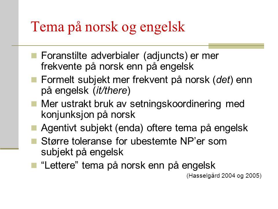 Tema på norsk og engelsk Foranstilte adverbialer (adjuncts) er mer frekvente på norsk enn på engelsk Formelt subjekt mer frekvent på norsk (det) enn p