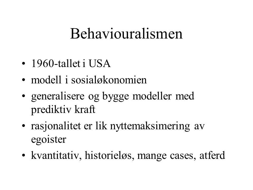 Behaviouralismen 1960-tallet i USA modell i sosialøkonomien generalisere og bygge modeller med prediktiv kraft rasjonalitet er lik nyttemaksimering av egoister kvantitativ, historieløs, mange cases, atferd